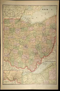 Antique Ohio Map State Early 1900s Original 1901