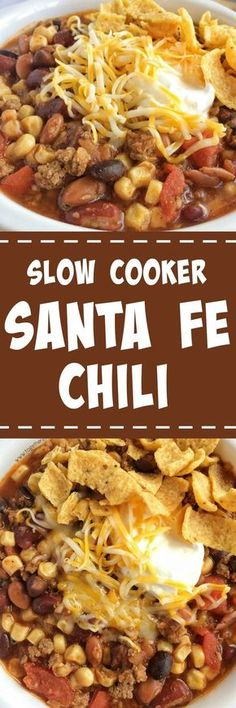 Santa fe chili is cooked in the slow cooker all day for ultra tender and flavorful chili. Brown some ground beef & onion, and add some cans into the crock pot. Serve with sour cream, shredded cheese, and fritos chips for the ultimate chili dinn Health Slow Cooker Recipes, Slow Cooker Hamburger Recipes, Slow Cooker Freezer Meals, Crock Pot Slow Cooker, Crock Pot Cooking, Healthy Recipes, Crockpot Recipes, Cooking Chili, Healthy Food