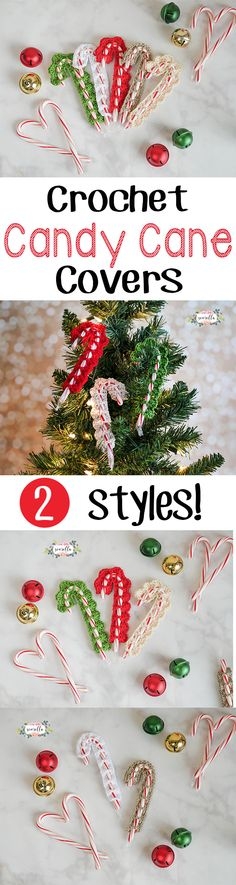 Make these cute candy cane crochet covers in 10 minutes! 2 Free patterns from Sewrella