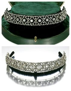 DIAMOND BANDEAU, CIRCA 1920  The articulated band centring on fourteen old mine-cut diamonds, within symmetrical motifs of numerous similarly-cut diamonds, length approximately 290mm; detachable to be worn as a choker, with a black velvet band fitting; the centre portion may be worn as a bracelet, with an extra link fitting; the two end segments detachable to be worn together as a brooch, brooch fitting, mounted in 18 karat white gold. Text and bottom photo via Sotheby's.