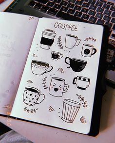 Um caFÉ zu nehmen, versäume caFÉ normalerweise nicht das Zeichnen, ultimame A Lápiz De Tareas Creativa ? Bullet Journal Aesthetic, Bullet Journal Notebook, Bullet Journal 2019, Bullet Journal Ideas Pages, Bullet Journal Inspiration, Doodle Drawings, Easy Drawings, Cute Little Drawings, Doodles Bonitos