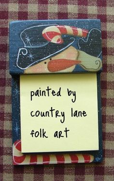 Snowman candy cane post it note holder hand by countrylanefolkart, $10.00, Love this!