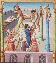 The Hague, MMW, 10A 11, detail of fol. 224v ('Massacre of children, ordered by Emperor Maxentius'). Augustine, La Cité de Dieu (Vol. I). Translation from the Latin by Raoul de Presles. Paris; c. 1475 (c.) c. 1478-1480