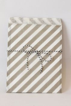 Grey and White Stripe Paper Favor Bags Gray Party Supplies Gender Neutral Gray Treat Bags Goodie Bags Grey Striped Gift Bags