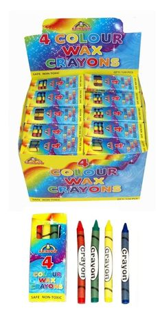 20 Packs of Wax Crayons Red Blue Green Yellow Childrens Party School Christmas for sale online