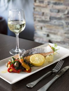 USED/////M E N U /  That time you snuck out of the office, ducked around the corner, turned your phone off, and ate a fresh plate of Atlantic salmon fillet with seasonal roast vegetables and a glass of white wine.