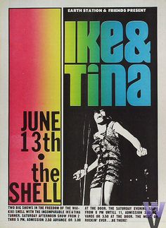 Ike & Tina Turner Concert Poster — June 13, 1970 — Waikiki Shell, Honolulu, HI