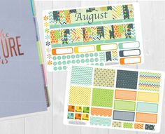 Pinning for later! These stickers are perfect. Available at Crafted By Corley on Etsy. August Monthly Sticker Set - Monthly View Stickers Erin Condren Vertical Horizontal and Hourly Planners Happy Planner Planner Stickers by CraftedByCorley
