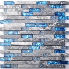 Home Building Glass Tiles Wall Interlocking Gray Marble Blue Sea Backsplash Tile | eBay
