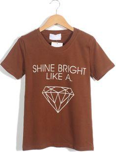 Chocolate Short Sleeve Letters Diamond Print T-Shirt US$17.71