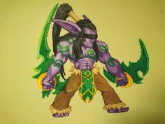 Illidan HotS #2 - Complete by MagicPearls World Of Warcraft, Geek Perler, Illidan Stormrage, Pixel Beads, Hama Beads Patterns, Perler Bead Art, Pearler Beads, Needle And Thread, Pixel Art