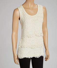 Look at this Natural Lace Crocheted Tier Tank - Women on #zulily today!