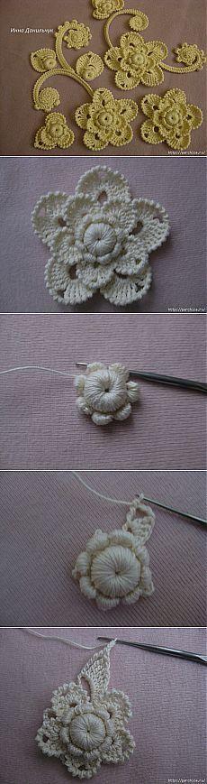 МК цветка в технике ирландского кружева от Инны Данильчук.: