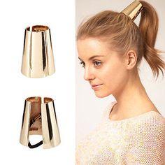 Hot Punk Rock Metal Circle Ring Hair Cuff Wrap Ponytail Holder Band Hair Rope Hair Clips