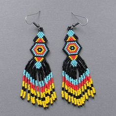 Black yellow red and turquoise seed bead earrings  by | http://coolearringscollections877.blogspot.com