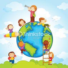 Vector Art : Kids around Globe