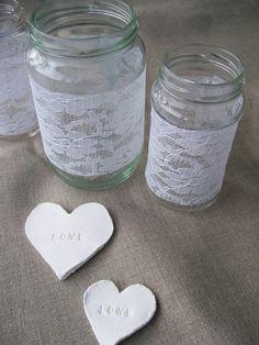 DIY lace wrapped mason jars and clay hearts tutorial