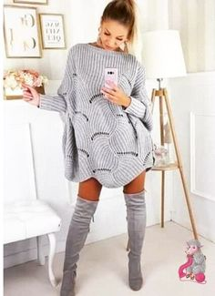 SheIn offers Loose Knit Scalloped Dolman Sweater & more to fit your fashionable needs. Crochet Shirt, Crochet Poncho, Best Wear, Knitting Designs, Knitting Yarn, Knit Patterns, Crochet Clothes, Pulls, Knit Dress