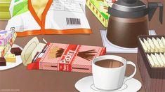 Dessert, pocky, coffee, chocolate; Anime Food
