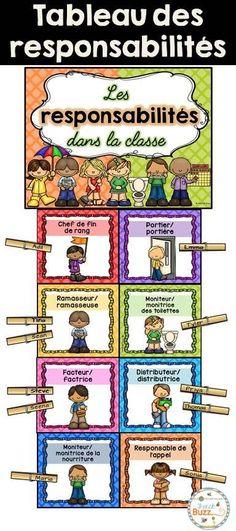 44 cartes de responsabilités dans la classe (2 formats et une page titre) pour faire votre tableau de responsabilités à la rentrée. French Classroom Jobs. Thème: quadrillage.