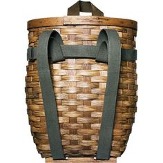 Market & Fruit Picking Pack  Lightweight rattan pack basket with leather handle and cotton shoulder straps. Keeps fruits, vegetables, and sandwiches from being crushed. Handwoven in the United States.