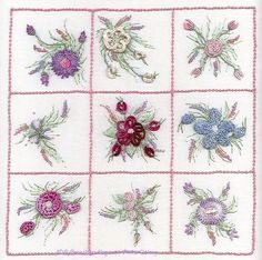 Brazilian Embroidery Design  Nine Flower Sampler #1 ED 1821