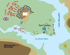 Montcalm commandait le Régiment Royal-Roussillon et le Régiment de Berry au centre des retranchements défensifs alors que Lévis commandait le Régiment de Béarn, le Régiment de Guyenne, et le Régiment de la Reine sur la droite et Bourlamaque commandait le Régiment de La Sarre et le Régiment de Languedoc sur la gauche. //  http://fr.wikipedia.org/wiki/Bataille_de_Fort_Carillon