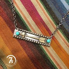 Siminole Necklace – arrow plate necklace with turquoise stones from Savannah Sevens Western Chic