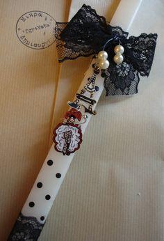 """Λαμπάδα με ζωγραφισμένα σκουλαρίκια Fb:Μικρά Δημιουργήματα """"fgr""""- Little Crafts """"fgr"""""""