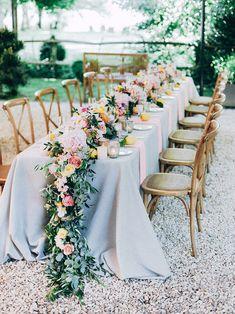 TML | TABEA MARIA-LISA | Bespoke Wedding & Floral Designs | www.tabeamarialisa.ch/en Flower Table Decorations, Table Flowers, Reception Decorations, Tall Wedding Centerpieces, Floral Centerpieces, Centrepieces, Whimsical Wedding Theme, Floral Wedding, Flower Garland Wedding