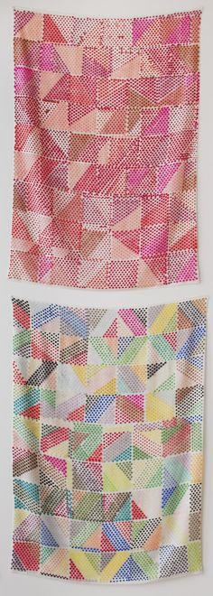 Polly Apfelbaum at Clifton Benevento, silkscreen print, fabric pattern Textiles, Textile Patterns, Textile Prints, Print Patterns, Lino Prints, Block Prints, Textile Art, Zentangle, Diy Laine