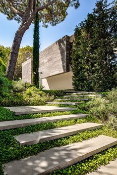 Architecture firm SAOTA has recently completed this modern summer house in Saint Tropez, France, that features a wavy concrete ceiling. Landscape Stairs, House Landscape, Landscape Architecture, France Landscape, Modern Landscape Design, Vernacular Architecture, Green Landscape, Contemporary Landscape, Timber Ceiling