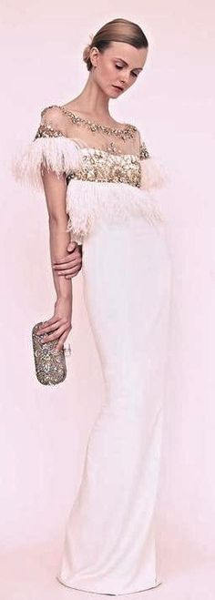 Marchesa SS 2013 - White crystal embellished feather empire waist gown