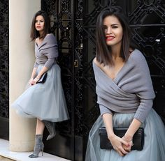 Adriana Gastélum - Sheinside Wrap Sweater, Alexandra Grecco Tulle Skirt, 3.1 Phillip Lim Clutch, Guess? Booties - Happy New Year   LOOKBOOK