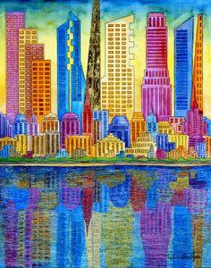 New York, New York - watercolor by ©Tak Salmastyan (via ArtistRising)