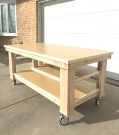 This DIY Garage Workbench is the perfect mobile, multifunctional build to organize your garage and complete your projects all in one space. Garage How to Build the Ultimate DIY Garage Workbench - FREE Plans Workbench On Wheels, Garage Workbench Plans, Woodworking Workbench, Easy Woodworking Projects, Popular Woodworking, Woodworking Furniture, Furniture Plans, Woodworking Shop, Diy Furniture