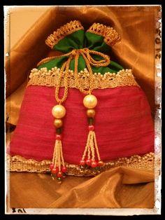 Rawsilk and pearl potli bag! Indian ethnic bag!!