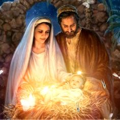 Jesus And Mary Pictures, Mother Mary Images, Pictures Of Jesus Christ, Mary And Jesus, Merry Christmas Gif, Christmas Scenery, Christmas Nativity Scene, Christmas Pictures, Jesus Born Christmas