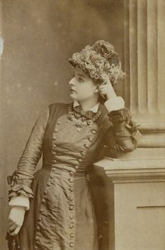Young lady, circa 1878. Victorian Natural Form era. Princess line. Beautiful details/embellishments on the cuffs. And look at all those buttons!