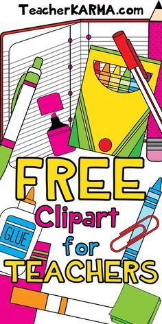 FREE Clipart for TEACHERS.  School supplies.  http://TeacherKARMA.com