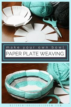 Bowl- A DIY with Free Printable Template Woven Bowl- A DIY with Free Printable Template - Simple learn to weave activity for the kids this summer.Woven Bowl- A DIY with Free Printable Template - Simple learn to weave activity for the kids this summer. Camping Crafts, Fun Crafts, Summer Crafts, Crafts With Yarn, Creative Crafts, Holiday Crafts, Ideias Diy, Paper Plate Crafts, Paper Plates
