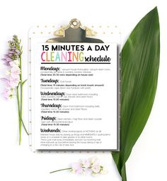 Use this simple printable daily cleaning schedule to help you tackle the trouble areas of your home. 15 minutes a day is all it takes!