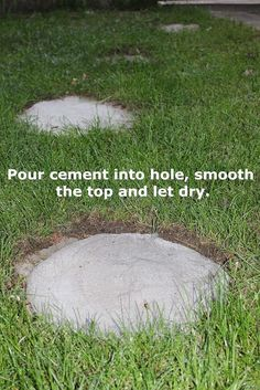 a quicker and easier way to stepping stones, concrete masonry, outdoor living, Pour cement into hole smooth the top and let dry (Outdoor Wood Concrete Blocks)