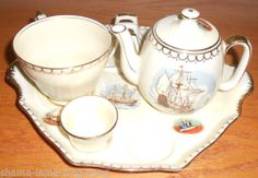 "Royal Winton Grimwades ""Hearts of Oak"" Nautical Ships Breakfast Set 605 1955 Breakfast Tray, Types Of Tea, Tea Pot Set, English, Tea Service, Chocolate Pots, China Dinnerware, High Tea, Afternoon Tea"