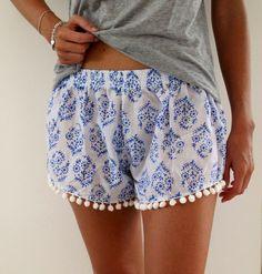 Pom Pom Shorts Blue & White Print Trendy Beach by ljcdesignss