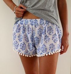Pom Pom Shorts Blue & White Print Trendy Beach by ljcdesignss