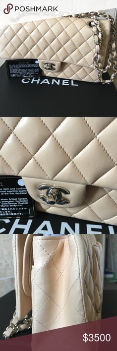 Chanel Classic Double Flap Medium Lambskin Bag In very good condition Chanel Double Flap Medium Shoulder SHW Shoulder Bag Some indentation and light mark in inside flap  but not huge and visible Comes with dust bag and Chanel card with matching hologram sticker  Guaranteed Authentic CHANEL Bags Shoulder Bags