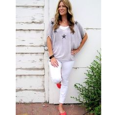 Oversized star top $37 active basic layering tee $9 articles of society white denim skinny $54 coral faux leather flats $10. Call to order 801.763.2700 #ourlittlestoreboutique #ootd #utahboutiques #weship