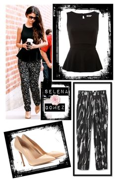 """""""Get the look: Selena Gomez"""" by gabrielezzz ❤ liked on Polyvore featuring mode, WalG et Gianvito Rossi"""