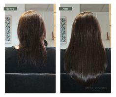 Før/efter billede af Hair extensions lavet hos Myextensions i Aalborg. Find selv dine hair extensions på vores hjemmeside www.myextensions.dk.